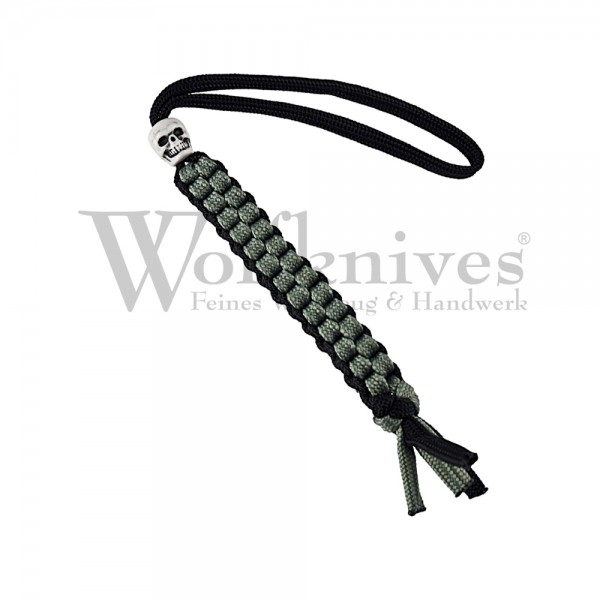 Wolfknives® Lanyard N°1 mit Totenkopfperle - silbergrün/schwarz