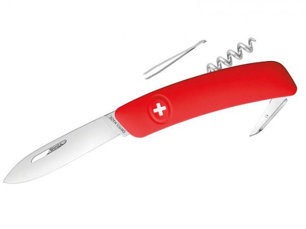 Schweizer Messer mit rotem Anti-Rutsch-Griff und 6 Funktionen