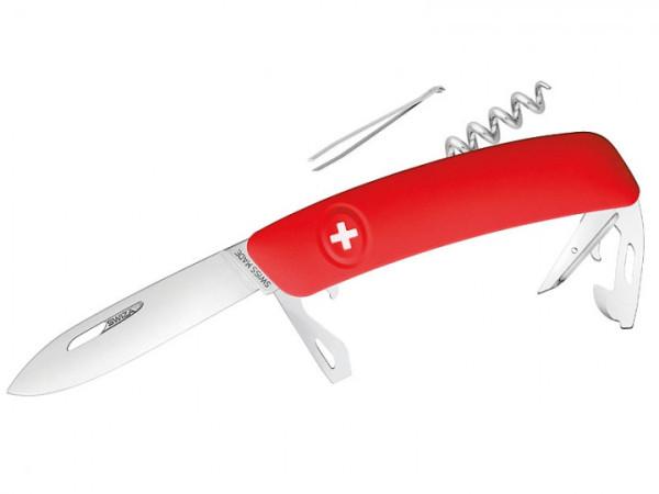 SWIZA D03 - Schweizer Taschenmesser mit rotem Anti-Rutsch-Griff und 11 Funktionen