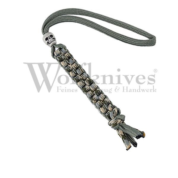Wolfknives® Lanyard N°1 mit Totenkopfperle - acu/silbergrün